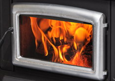 Front panel with flames of home heating stove, pellet stove
