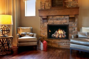 Homey, energy-efficient gas fireplace in modern living room with wood flooring.