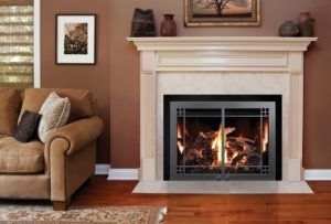 Energy-efficient, gas fireplace with white surrounding mantel in a formal living room.
